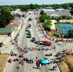 Drone photo of parade
