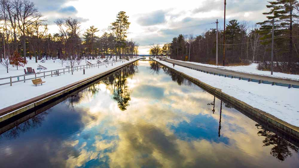 Cadillac waterway in winter